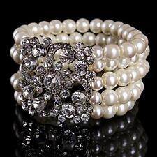 Vintage Bridal Pearl Beaded Bracelet Sparkling Crystal Bangle Wedding Jewelry