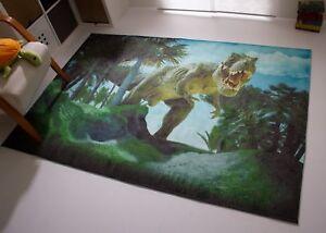 Dinosaurier Teppich Dino Kinderteppich Pangaea Beige Grün Blau Grau