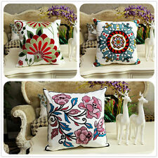 Vintage Cotton Couch Sofa Cushion Cover Throw Pillow - Flower 45 X 45 cm