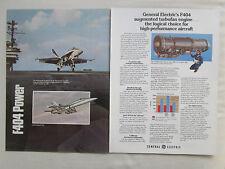 4/1980 PUB GE GENERAL ELECTRIC F404 ENGINE F/A-18 F-18 US NAVY ORIGINAL AD