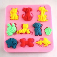 FD2346 Cat Dog Fish Pig Silicone Baking Mould Cake Chocolate Soap Candle Mold A