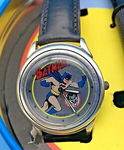 VINTAGE FOSSIL Friend or Foe? BATMAN WATCH No. 2 Complete w/ Tin and Flashlight