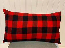 12 x 20 Lumbar Accent Flannel Pillow Cover - Red and Black Buffalo Plaid