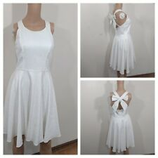 Jessica Simpson White Bow Back Halter Flare Dress Regular Size 4 $138