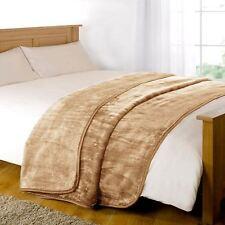 LUXURY FAUX FUR BLANKET BED THROW SOFA SOFT WARM FLEECE THROW KING TAN
