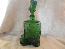 Vintage Green Glass Bottle Clown Car Decanter Italy Bessi 1960s