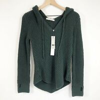 One Grey Day Green Hooded Sweater S Wool Blend V-Neck Long Sleeve Womens New