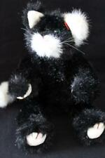 """TY 1993 Soft Stuffed Jointed PURRCY CAT Plush / Toy Black/White 9"""" (A3)"""