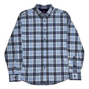 Menthe ! XL UNTUCKit Bleu Clair à Carreaux 100% Coton Flanelle Bouton T-Shirt