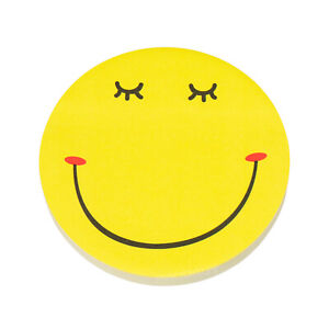 80 Novelty Smiley Face Sticky Notes 8cm Round Yellow Emoji Adhesive Memo Pads