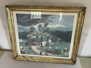 """Antique 19th C. Wood Lemon Gold Leaf Frame 16.5"""" X 14"""""""