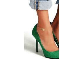Ankle Bracelet Anchor Nautical Charm 14k Yellow Gold over Base Anklet Gift Box 9
