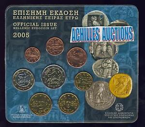 Official BU set 2005, Greek Euro coins, Bank of Greece, Complete set of 8 values