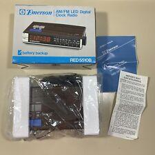 NOS Vintage Emerson AM/FM LED Digital Alarm Clock Radio RED 5510