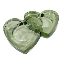 Vintage Murano Art Glass Candle Holders Recycle Glass Heart Shaped 3.75'W .75'T