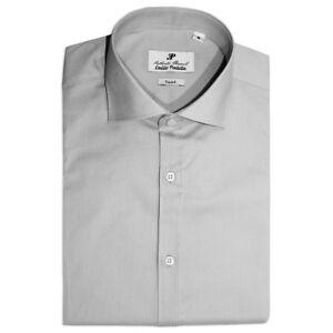Chemise Homme Casual Basic Coton Couleur Unie Gris Manches Long Slim Fit Sarani