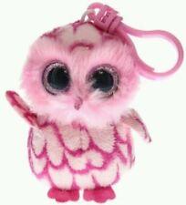 TY PELUCHE GUFO PELUCHE Pinky The Owl Beanie Plush Pupazzo Portachiavi Keychain