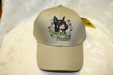 Doberman Pinscher Dog Embroidered On a Khaki/Tan Structured Hat