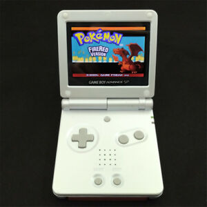 White Game Boy Advance GBA SP Console AGS 101 Brighter Backlit LCD + Game Card