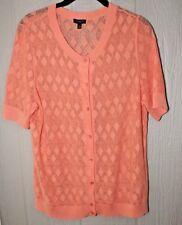 TALBOTS Petites XLP Short Sleeve Cardigan Peach Crochet Look Ribbed Hem Cuffs