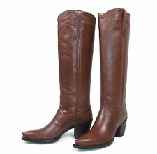 "Stunning Liberty Twiggy 16"" Riding Cowboy Boots - Wms 6.5B - Brown Buffalo Calf"