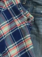 J CREW Mens Sport Shirt XL BLUE Red Check Flannel SLIM FIT