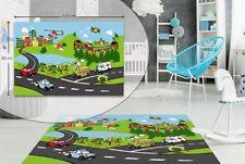 Kids Bedroom Floor Rug Boys Soft Play Mats Carpets Non-slip Washable Road Map City Traffic