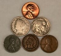 Old US Coin Lot Indian Head Buffalo Nickel Steel Wheat Penny UNC 6 Coins 2x2