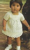 Baby Girls Crochet Dress Pattern and Two Knitted Dresses 0-18 months 4ply  843
