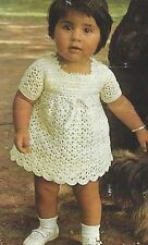 Baby Girls Crochet Dress and Two Knitted Dresses 0-18 months 4ply  843