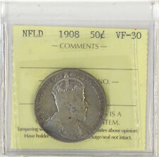 Canada Newfoundland 1908 50 Cents Iccs Certified Vf-30 Silver King Edward Vii