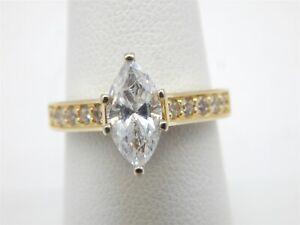 14K YELLOW GOLD 2 CARAT MARQUISE DIAMONIQUE DQ CZ SOLITAIRE ENGAGEMENT RING 6.75