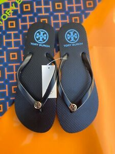 NWT Tory Burch PVC Thin Flip Flop Flops Thong Sandals Black Gold Logo MANY SIZES