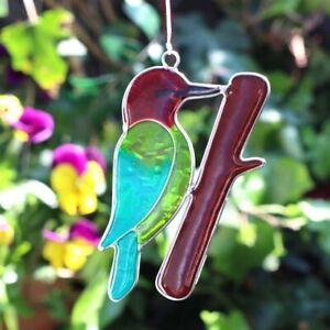 Bird sun catcher - Woodpecker - stained glass effect - garden gift