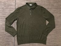 COS Adult Mens Large Wool Long Sleeve Polo Shirt Green