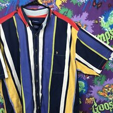 Catalina 80s Vintage Button Shirt Short Sleeve Striped Color Block XL #G