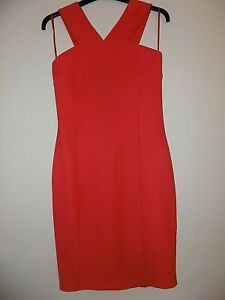 Ladies River Island Red Strappy Ribbed Fitted Dress Size 12 Unworn