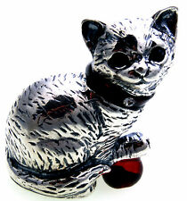 Cat Genuine Silver 925 with Amber Sterling Silver Figurine Handmade Quality