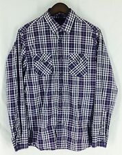 Banana Republic Purple White Plaid Button Up Long Sleeve Mens Shirt M 15 15 1/2