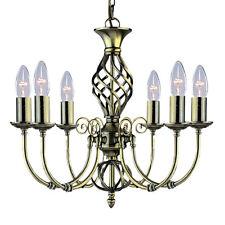 Searchlight Zanzibar Antique Brass 6 Light Ceiling - Chandelier Lights