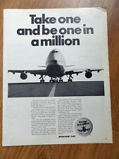 1970 Boeing 747 Super Jet Ad Take one & be One in a Million