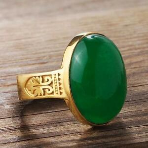 Mens 10K Fine Yellow GOLD NATURAL JADE Vintage Gemstone Ring for Men all sizes