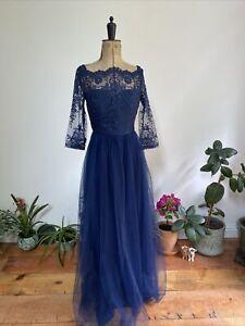 Coast Navy Blue Lace And Net Bridesmaid Dress, 10