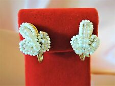 MIRIAM HASKELL ORNATE HAND BEADED VINTAGE CLIP EARRINGS*OPALESCENT!