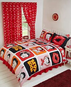 BETTY BOOP PICTURE REVERSIBLE DUVET SET SINGLE DOUBLE KING SUPERKING CURTAINS