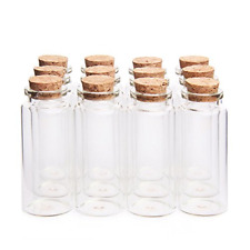 New listing Mini Glass Bottles Jars with Wood Cork Stoppers Tiny Glass Jars Message Bottle
