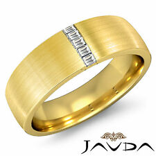 Exquisite Baguette Diamond Mens 7mm Ring 18k Yellow Gold Half Wedding Band 0.2Ct
