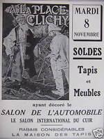 PUBLICITÉ A LA PLACE CLICHY RABAIS SUR TAPIS ET MEUBLES DU SALON DE L'AUTOMOBILE