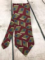 "Oscar De La Renta  Neck Tie 58x 4"" 100% Silk Couture Collection Abstract Olives"