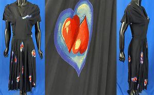 Vintage Jourdelle of Hollywood Black Silk Red Purple Heart Novelty Print Dress